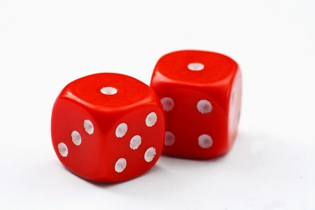double the chances: Pair of red dice thrown to show snake eyes, isolated on a white background