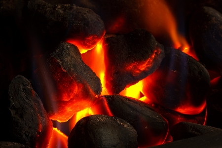Imitation coal fire, powered by gas supply photo