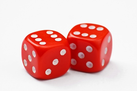 double the chances: Pair of red dice thrown to a double six, isolated on a white background Stock Photo