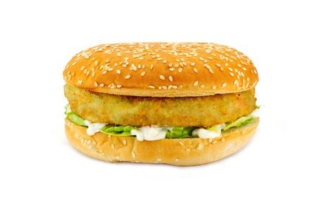 Breadcrumbed vegetariano ou hambúrguer vegetariano, também poderia ser usado para hambúrguer de frango ou hambúrguer de peixe