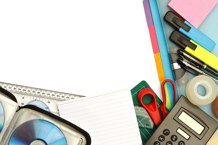 university student stationery or modern office supplies arranged on a desktop with blank area for text Stock Photo - 14503131