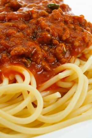 bolognese: close up of Spaghetti Bolognese an Italian Classic and favourite dish around the world