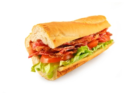 hero sandwich: Sub roll made with Bacon, lettuce, tomato and mayo in a french bread roll