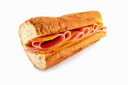 filled roll: A homemade sandwich baguette with two of the most popular fillings ham and cheese, made with freshly baked french bread