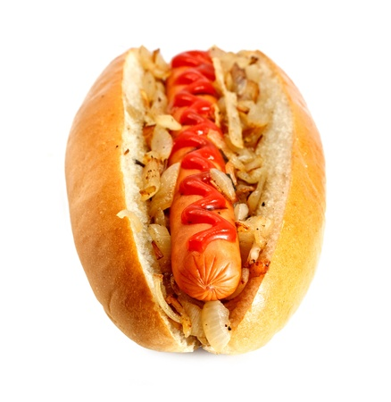 dog food: Grilled Hot dog or Wiener with fried onions and ketchup topping, the ultimate classic fast food Stock Photo