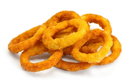 onion isolated: golden crispy Onion rings coated with breadcrumbs and deep fried
