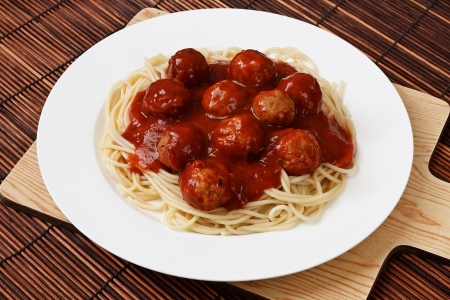 Spaghetti with Meatballs in a bolognese sauce a western adaptation from traditional italian cooking photo