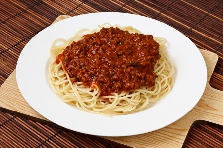 spaghetti: Spaghetti Bolognese Klassieke Italiaanse gerechten en een populair diner over de hele wereld Stockfoto