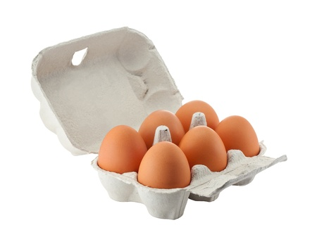egg carton: Cardboard egg box with six brown eggs isolated  Stock Photo