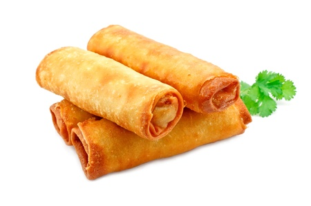 spring onions: Chinese Vegetable spring rolls a great side order at chinese restaurants Stock Photo