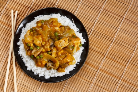 arroz chino: Pollo al curry un plato popular asi�tico disponible en chino take aways