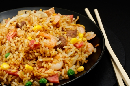 A plate of oriental food Special fried rice