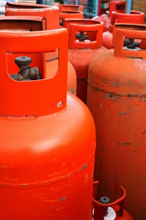 butane: Domestic propane gas bottles ready to be refilled and recycled