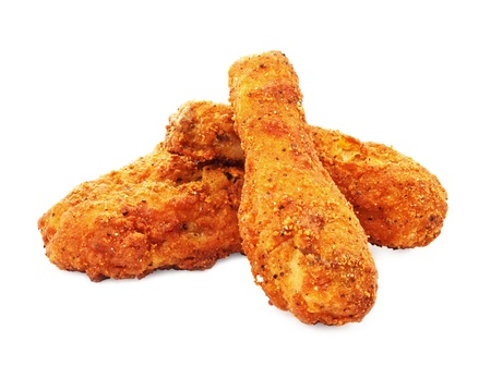 crispy: Three pieces of crispy southern fried chicken with fries Stock Photo