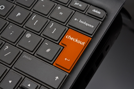 amended: Checkout Return Key symbolizing the closing of a purchase at an online shop Stock Photo