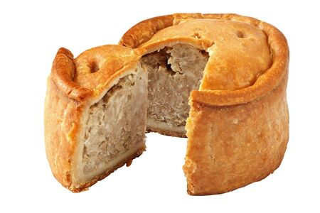 A traditional handmade pork pie traditionally called Melton Pies from the town of Melton Mowbray in the Midlands, England photo