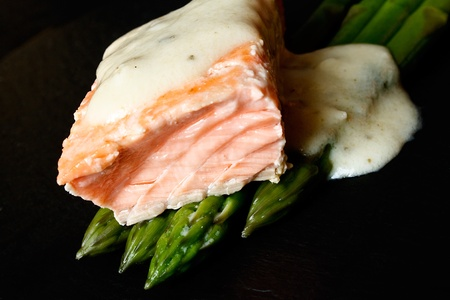 gastro: Gourmet Salmon and asparagus gastro food served on slate plate Stock Photo