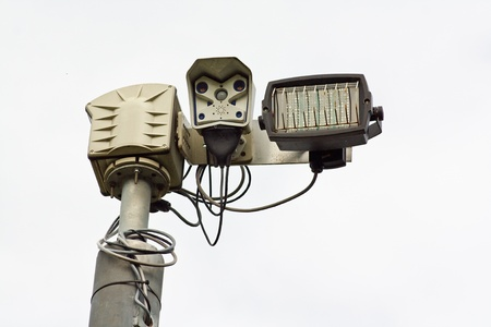 big brother spy: Infra Red closed curcuit television cameras or CCTV a surveillance camera for use at night Stock Photo