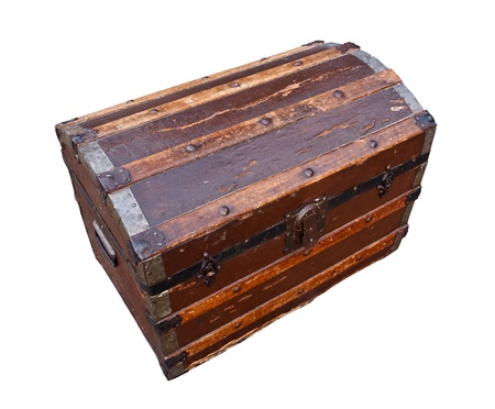 grungey: old and worn tatty traditional antique wooden chest grungey looking Stock Photo