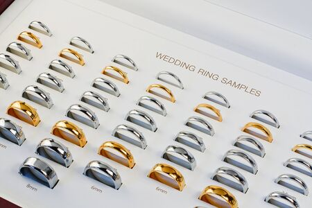 wedding bands: A Wedding Band Sample box with all the popular styless and a variety of sizes to help choose the perfect ring Stock Photo