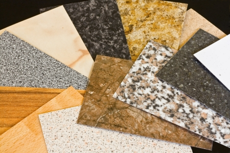 Kitchen worktop samples showing a variety of textured finishes available Stock Photo