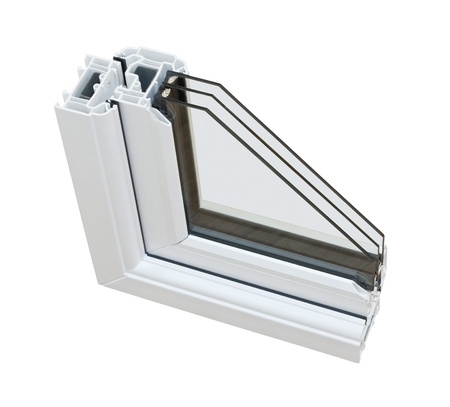 pane: A cross section of triple glazing cut away to show the inner profile and construction quality
