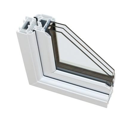 glasscheibe: Ein Querschnitt der Dreifachverglasung weggeschnitten ist, um das innere Profil und Bauqualität zeigen Lizenzfreie Bilder