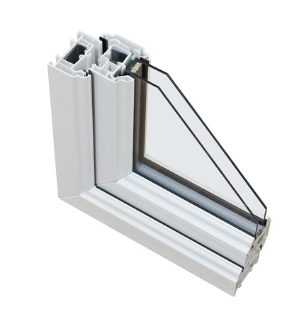 double cross: Una sezione trasversale di doppio vetro tagliato via per mostrare il profilo interno e la costruzione di qualit�