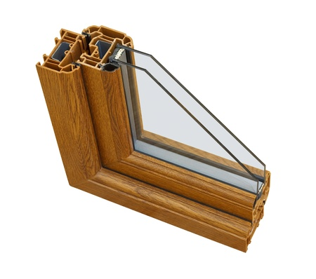A cross section of wood effect Double glazing cut away to show the inner profile and construction quality