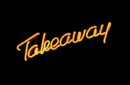 carry out: illuminated neon sign advertising take away or carry out