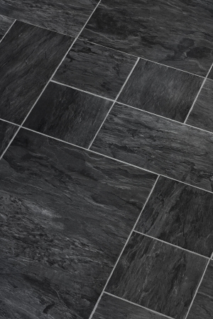 stone worktop: Solid stone Slate flooring a popular choice for modern kitchens and bathrooms Stock Photo