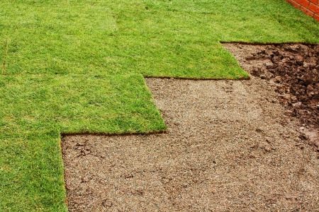sod: freshly layed turf at housing estate garden Stock Photo