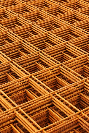 welded: welded wire mesh stacked creating abstract industrial or engineering background