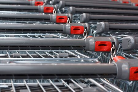 shopping carts: Rows of unbranded shopping carts at the hypermarket
