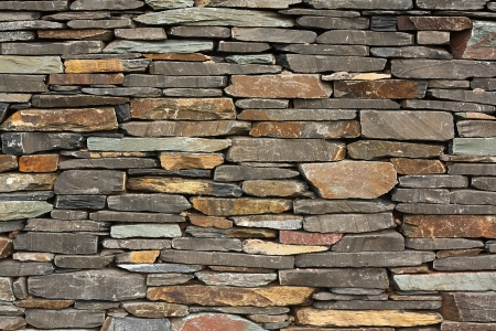 newly built dry stone wall architectural feature wall on large building good for backgrounds or wallpaper