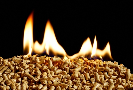 burning wood chip pellets a renewable source of energy becoming popular as a green environmentally friendly fuel for stoves which provide household heating photo