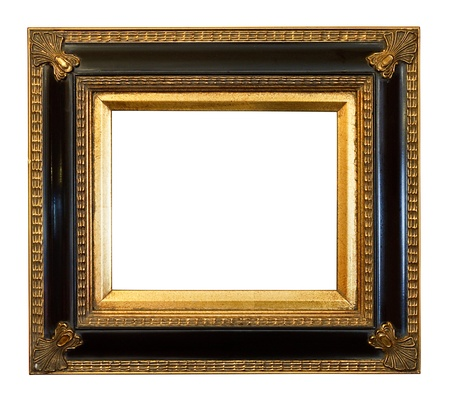 vintage photo frame: thick antique gold Gilded Picture Frame cut out on a white background