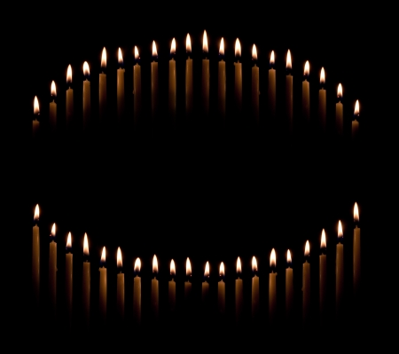 candle lights: Group of tapered candles form a candle light circle or curve