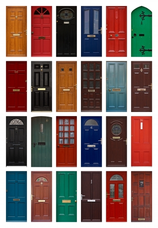 A Collection Of Residential Front Doors Good For Estate Agents And  Symbolizing Opening New Doors Stock