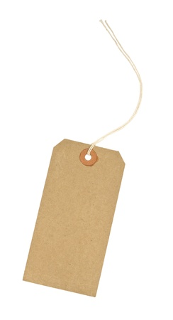 tag: traditional cardboard price tag with white string threaded through the reinforced hole isolated against a white background Stock Photo
