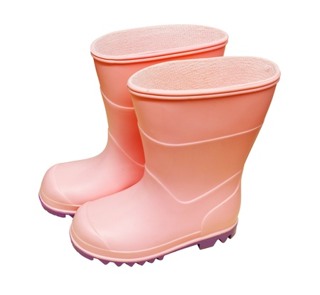 welly: A pair of pink wellington boots isolated against a white background Stock Photo