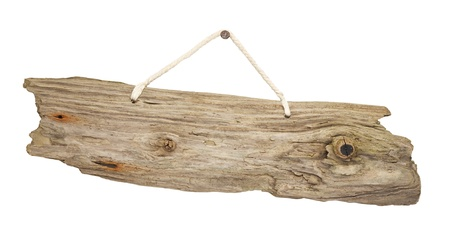 old grungy antique wooden plank of driftwood sign hanging on string great for notices Stock Photo - 19461562