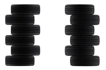 ply: pile of radial and cross ply rubber tyres stacked on top of each other to make frame, border or background Stock Photo