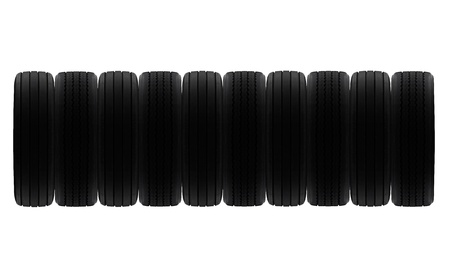 radial tire: line of radial and cross ply rubber tyres to make frame, border or background Stock Photo