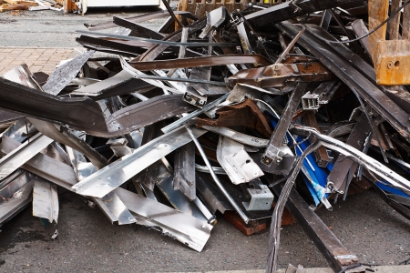 Scrap metal waste of iron and aluminum for recycling at a demolished building site