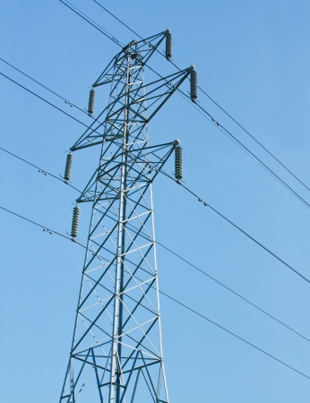 unsightly: Electricity pylons used to distribute national grid energy over land often contested for planning permission being unsightly and polluting the lanscape