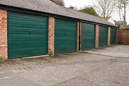 Residential Garage block often found for lease in densely built up areas and used either for parking your car or increasingly as storage units photo