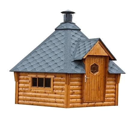 Outdoor houten schuur met schoorsteen, populair in het Nederland voor de huisvesting van een sauna of een barbecue