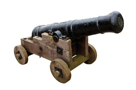 bombard: Antique medieval seige cannon used in the past to bombard castles and fortifications Stock Photo