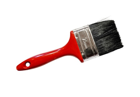 Single red actual real paintbrush isolated against a white background Stock Photo - 21490494